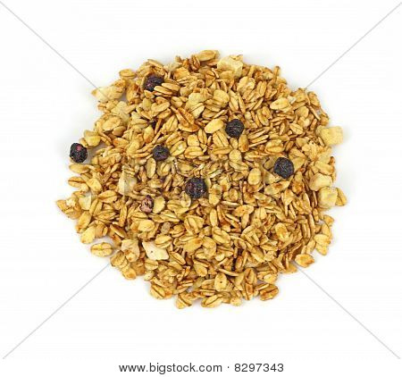 Overhead View Granola Blueberry Banana Mix