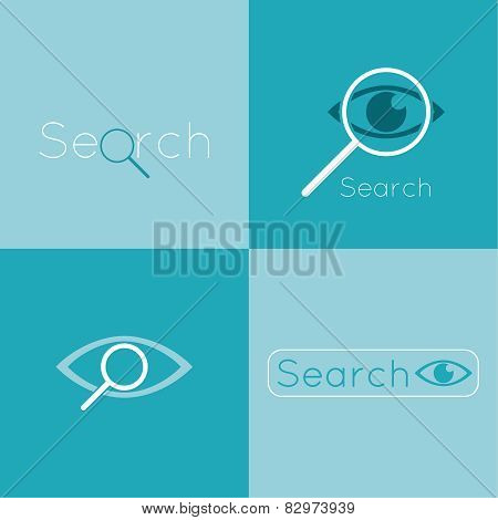 Icon eyes with a magnifying glass. Logo. Search, analysis, study