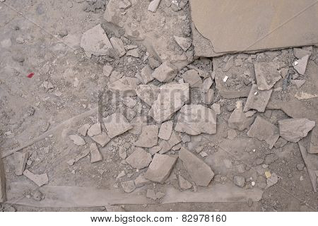 Demolished concrete floor