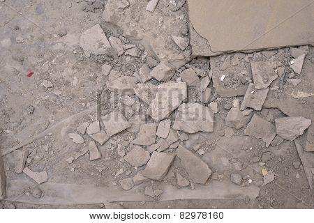 Demolished concrete floor