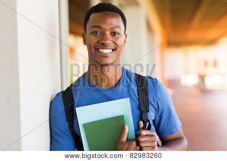 handsome african male university student portrait
