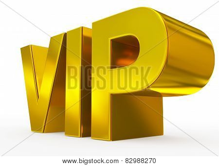 Vip Golden - 3D Letters Isolated On White