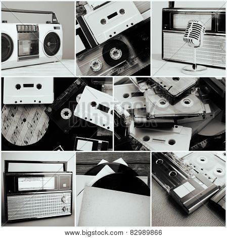 Vinyl records, audio cassettes, microphone, tape recorder and radio set in collage