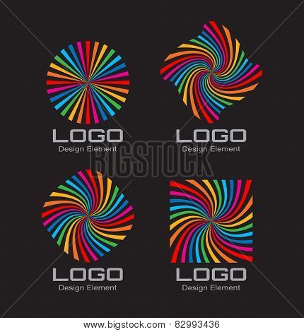 Set of Colorful Bright Rainbow Spiral Logo on black background.