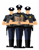 Three police officers were arrested. Police silhouette. Police isolated. The Arrest poster