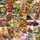 Big collage of food images.  Variety of meals, meat, fish, fruits, vegetables, dairy, salads, desserts. poster