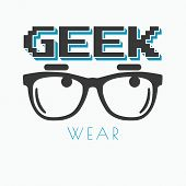 Geek wearing glasses typography t-shirt graphic design poster