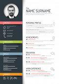Vector minimalist cv / resume template - dark color version poster