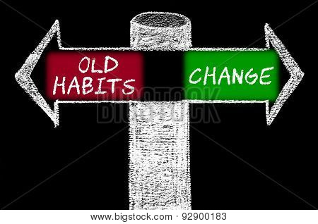 Opposite Arrows With Old Habits Versus Change