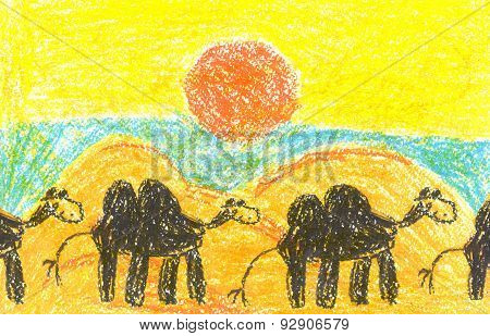 Art Painting With Camelcade In Lifeless Desert
