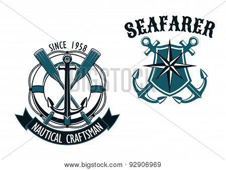 Nautical and marine themed badges