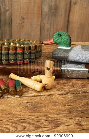 Hunting. Duck Decoys And Wooden Whistles.