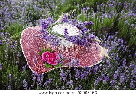 Female hat decorated with lavender flowers