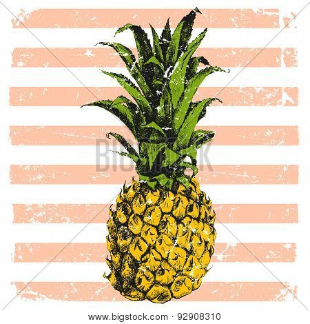 hand drawn bright pineapple on striped background