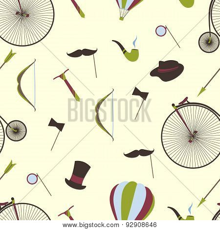 Bicycles, Mustaches, Ball, Arrow, Seamless Background.