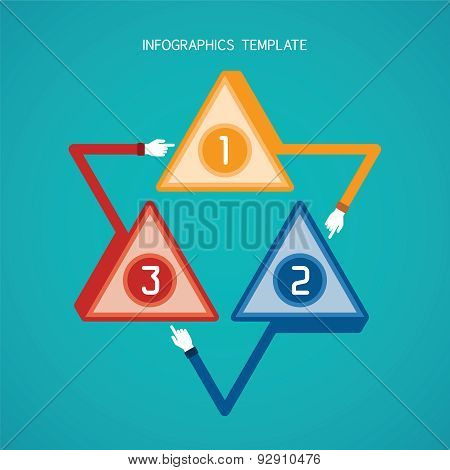 Abstract Vector 3 Steps Infographic Template In Flat Style For Layout Workflow Scheme, Numbered Opti