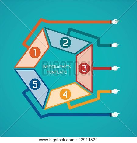 Abstract Vector 5 Steps Infographic Template In Flat Style For Layout Workflow Scheme, Numbered Opti