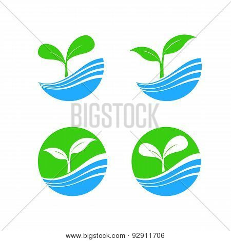 Circle Shape Logo Element With Nature Plant And Water Concept, Hydroponic Brand Icon Symbol
