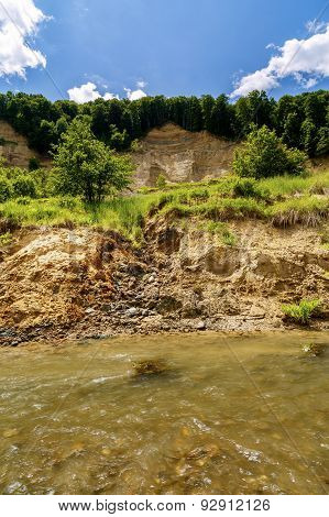 Riverbank On The River  Showing Signs Of Bank Erosion And Instability