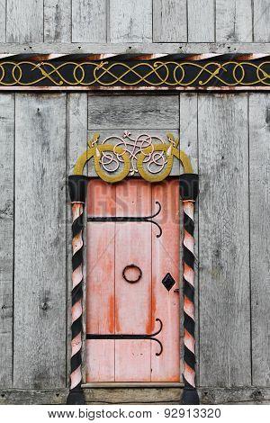 Door of the viking church in Moesgaard, Denmark