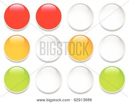 Traffic Lights, Traffic Lamps Isolated On White. (semaphores) Vector.