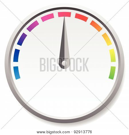 Dial Faces With Pointer Isolated On White. Measure, Gauge, Indication Concepts. Editable Vector.