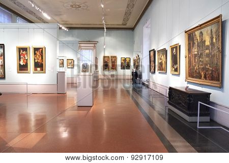 MOSCOW, RUSSIA  -  APRIL 08, 2015: Pushkin Museum - one of the largest and most significant Russian museums of European and world art. Hall the art of Germany and the Netherlands XV - XVI centuries