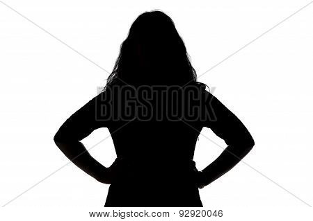 Silhouette of angry woman