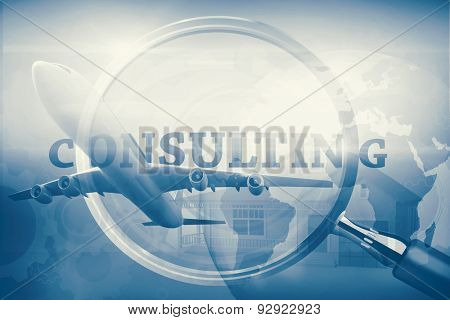 Graphic airplane against magnifying glass showing consulting word