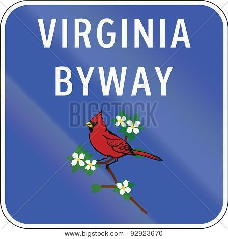 Scenic byway shield in Virginia USA showing the state bird the Cardinal (Cardinalis cardinalis). poster