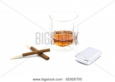 Two Cigarillos, Lighter And Cognac