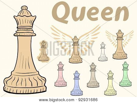 Queen chessman clipart