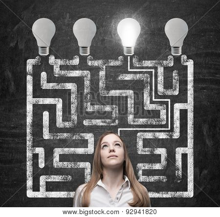 Beautiful Woman Is Looking For The Way How To Solve The Maze And Reach The Right Light Bulb As A Con