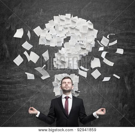 Mediating Businessman Is Thinking About The Question Mark Which Consists Of The Contract Pages. Dark