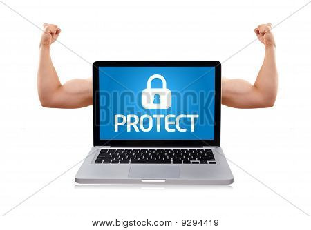 Laptop With Protect Sign And Muscular Biceps