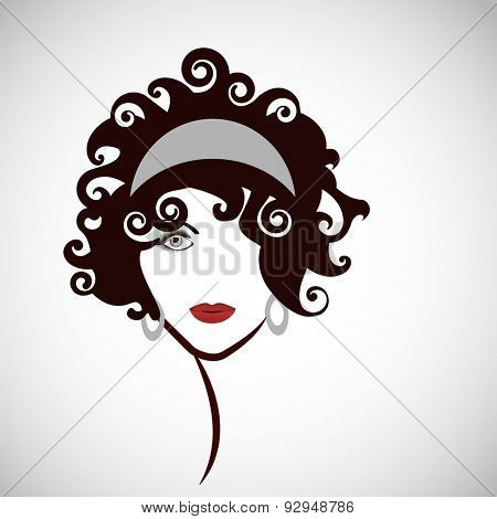 Black hair beauty .  Youthful woman looking forward .