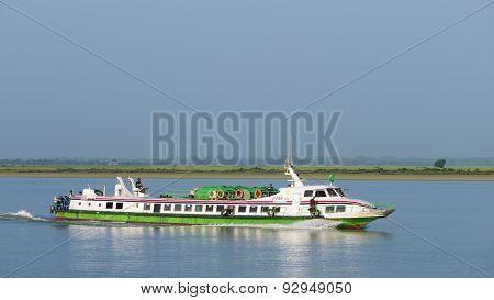 Express Boat On The Kaladan River, Myanmar