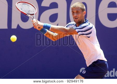BARCELONA - APRIL, 23: Slovakian tennis player Martin Klizan in action during a match of Barcelona tennis tournament Conde de Godo on April 23 2015 in Barcelona