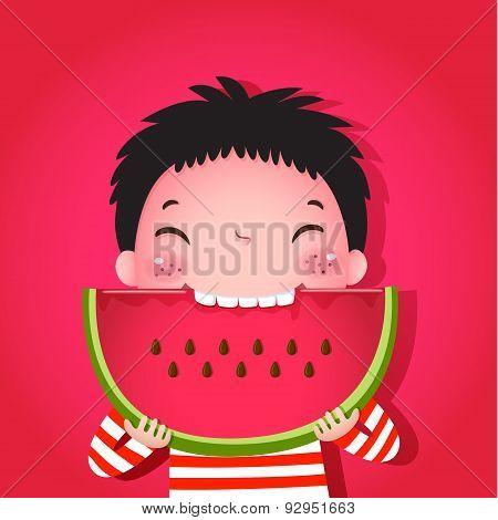 Cute Boy Eating Watermelon