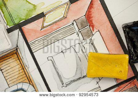 Watercolor aquarelle sketch with paint blocks