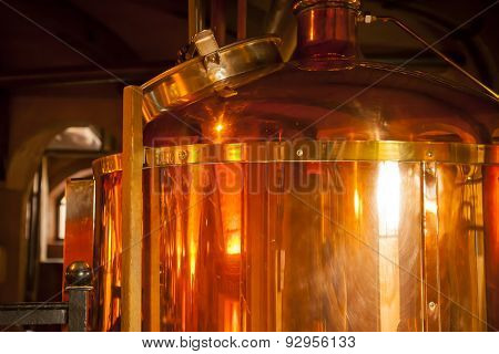 Copper container for whisky.