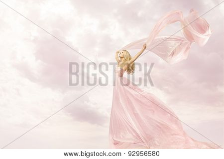 Woman In Pink Long Dress, Girl With Flying Silk Scarf Cloth