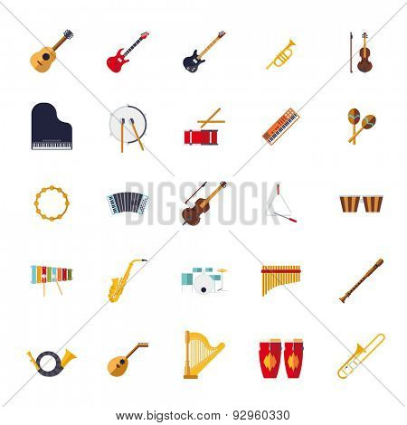 Musical Instruments Isolated Flat Design Vector Icons Collection. Set of 25 musical instruments icons, flat design, on white background.
