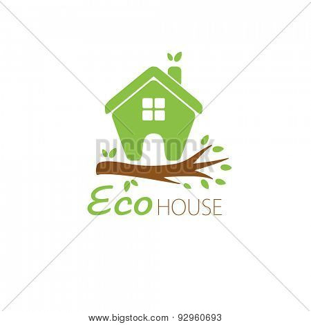 Small green eco house on the tree branch. House logo. Ecological house icon.