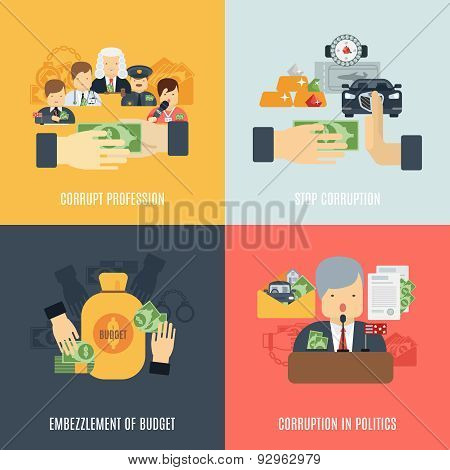 Corruption design concept set with budget embezzlement flat icons isolated vector illustration poster