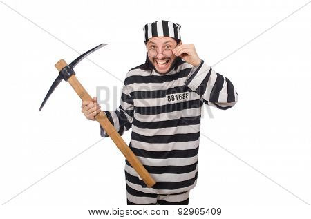 Prison inmate with axe isolated on white poster