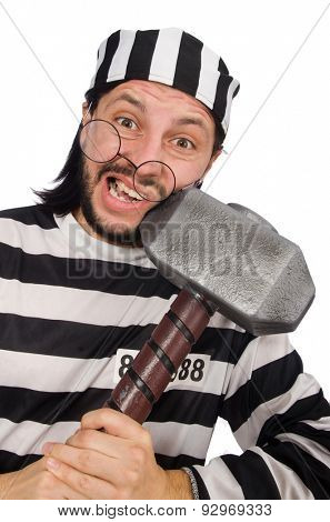 Prison inmate with hammer isolated on white