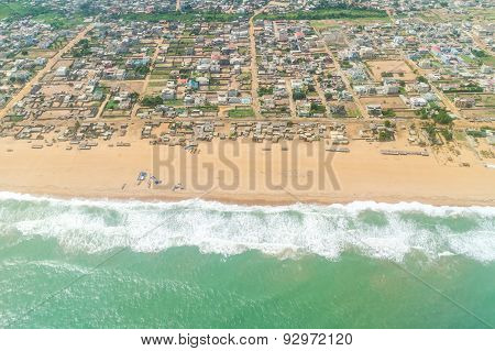 Aerial View Of The Shores Of Cotonou, Benin .