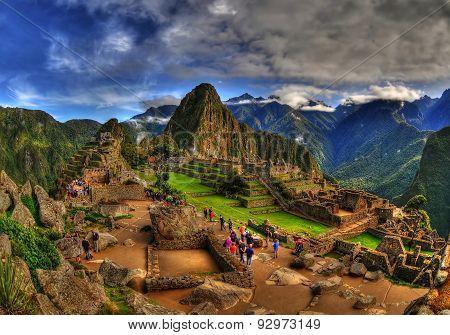 Machu Picchu in a cloudy weather in HDR, Peru