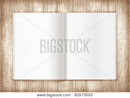 Vector blank magazine spread on wooden background. Template for your design poster